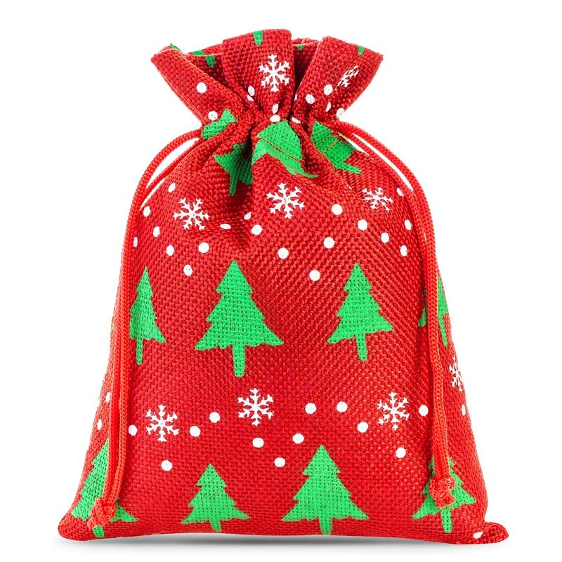 10 St. Jutesäckchen 12 x 15 cm - rot Weihnachtsbeutel