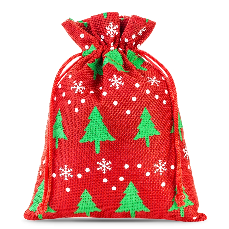10 St. Jutesäckchen 15 cm x 20 cm - dunkelrot Weihnachtsbeutel