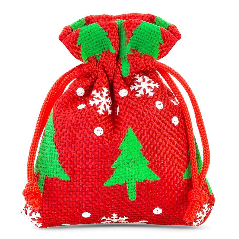 10 St. Jutesäckchen 8 x 10 cm - rot Weihnachtsbeutel