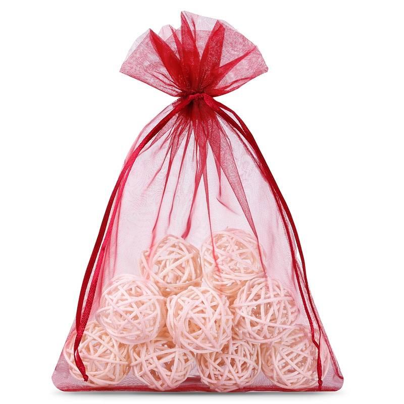 Organza bags 12 x 15 cm (25 pcs) - burgundy Dekorative Organzabeutel